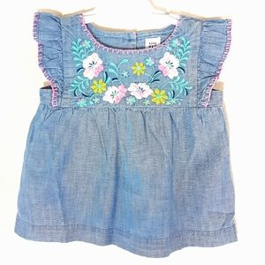 18-24 Baby Gap Toddler Girl Floral Embroidered Top